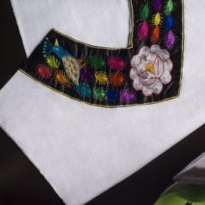 Huipil-embroidered kaftan dress-womens-cuello v